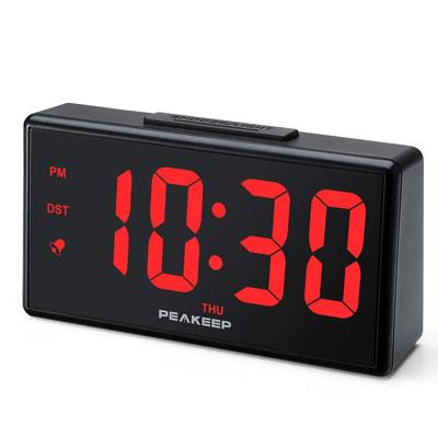 #5. PEAKEEP Digital Alarm Clock with USB Port
