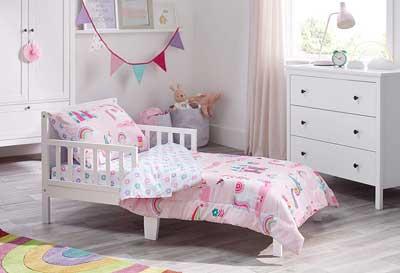 #9. Bloomsbury Mill 4 Pcs Magic Unicorn Fitted Sheet Enchanted Castle Toddler Comforter Set (Pink)