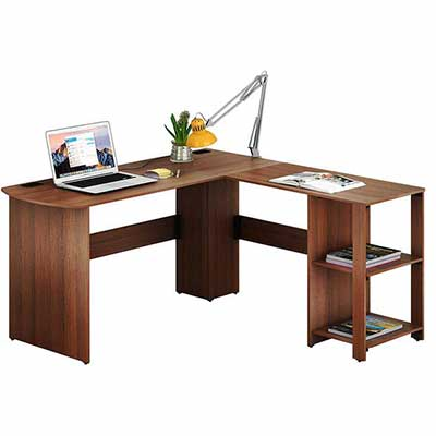 5. SHW Walnut Engineered Wood L-Shaped Corner Computer Desk for Office & Home