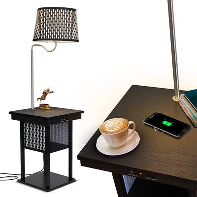 3. Brightech Classic Black Built-in LED Lamp Narrow Nightstand USB Port Modern Wood End Table