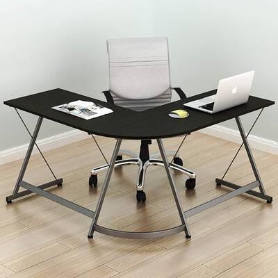 10. SHW Espresso 3-Pcs L-Shaped Gaming Computer Corner Desk Table w/Foot Rest Bar