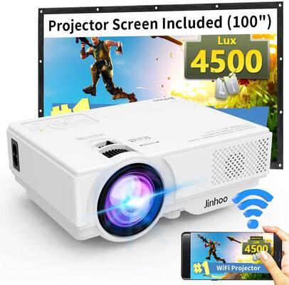 #6. Jin Hoo 1080P Support TV Stick HDMI 4500 Lux Portable Wi-Fi Mini Projector (Latest Update)