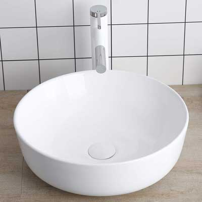 #7. Lalasani Round 16'' Bathroom Vanity Bowl Art Fireclay Basin Above Counter Vessel Sink (White)