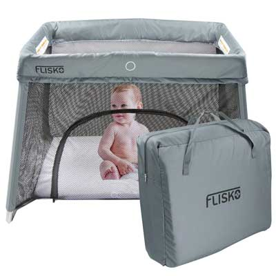 #3. Flisko 2-in-1 Lightweight Easy Assembly Collapsible Travel Crib & Bassinet (Fitted Mattress & Sheet)