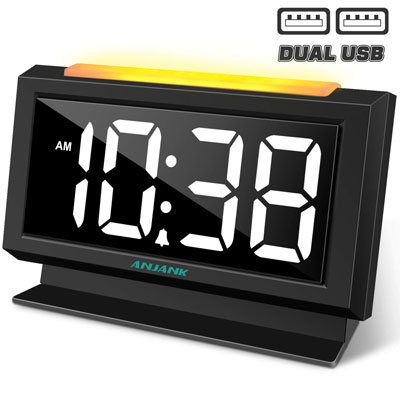 #3. ANJANK Digital Alarm Clock with USB Port