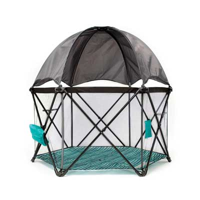 #7. Baby Delight Go with Me Eclipse Mesh Walls Washable Fabric Portable Playard (Canopy Included)