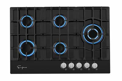 #2.Empava EMPV-30GC5L70A 30'' 5 Italy Sabaf Burners Gas Stove Cooktop Tempered Glass (black)