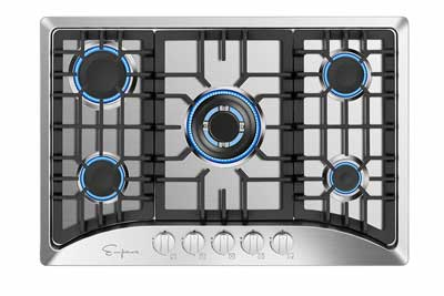 #3. Empava EMPV-30GC5B70C 30'' 5-Italy Sabaf Stove Stainless Steel Gas Stove Cooktop Convertible