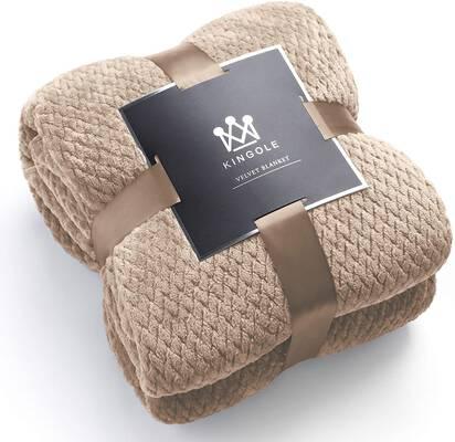 2. Kingole 108'' x 90'' Jacquard Weave Beige Flannel Fleece Microfiber 350 GSM Throw Blanket