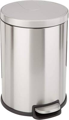 #10. AmazonBasics 20L Round Soft-Closed Lid Heavy-Duty Plastic Interior Bucket Trash Can