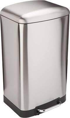 #4. AmazonBasics 40L Fingerprint-Proof Rectangle Soft-Close Lid Trash Can w/Steel Bar Pedal (Nickel)