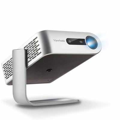 #1. ViewSonic M1+ Wi-Fi Smart Portable Mini Projector w/ Dual Bluetooth Speakers & Built-in Battery