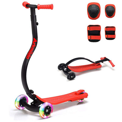 7. LBLA Kick Scooter for Kids (Boys and Girls) w/Adjustable Height and LED Flashlights on the Wheels