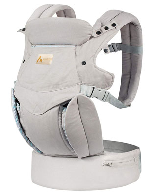 5. KONPAYDE 4-in-1 Convertible Baby Carrier with Bite Towel and Windproof Cap, Grey