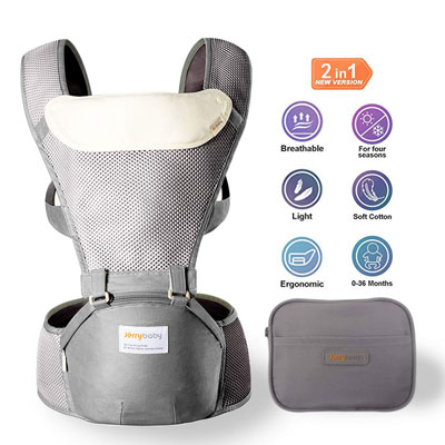 9. Jerrybaby 2 in 1 Lightweight 0-36 Months Baby Carrier with Hip Seat, Grey