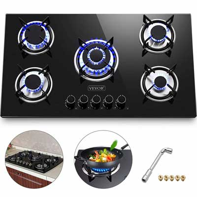 #5. Happybuy 36'' x 21'' 5 Burners Gas Stove Thermocouple Protection Built-in Gas Cooktop
