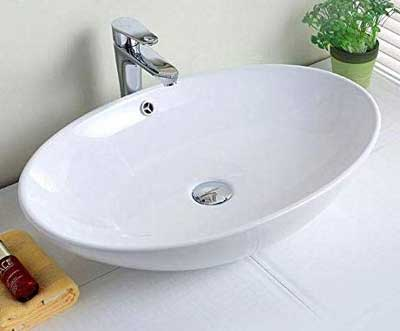 #3. DP Home Modern Oval Porcelain Above Counter White Ceramic Bathroom Vessel Sink (E-CL-1164)