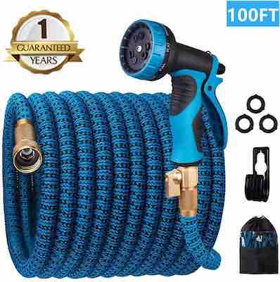 #3. Monyar 100 ft. 10 Function Spray Durable Solid Brass Fittings Expandable Water Hose