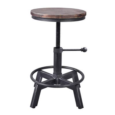 #7. BOKKOLIK Adjustable 17.7inch – 24inch Counter Height Swivel Wooden Seat Industrial Bar Stool