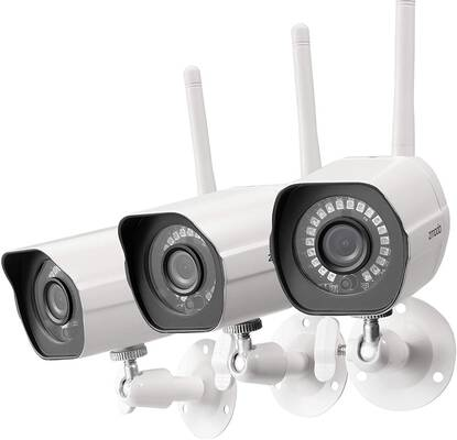 4. Zmodo 1080P 3 Pack IR Night Vision White Easy Setup Wireless Outdoor Security Camera