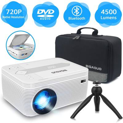 #7. BIGASUO Bluetooth Full HD 1080P Supported Built-in DVD Player Portable Mini Projector