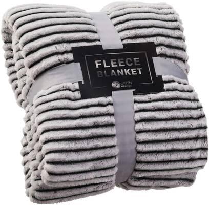 6. GREEN ORANGE Soft Plush Black & White Lightweight Fleece Fluffy Throw Blanket for Sofa & Bed