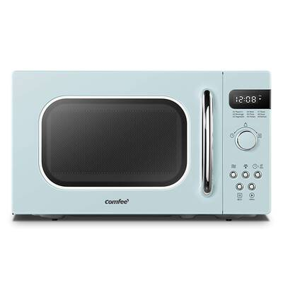 #8. COMFEE AM720C2RA-G Retro Style Eco-Mode 0.7cu. Ft. Countertop Microwave (Pastel Green)