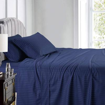 #10. Royal Hotel 4Pcs Adjustable Deep Pocket California King Top-Split Stripe Bed Sheet Set (Navy)