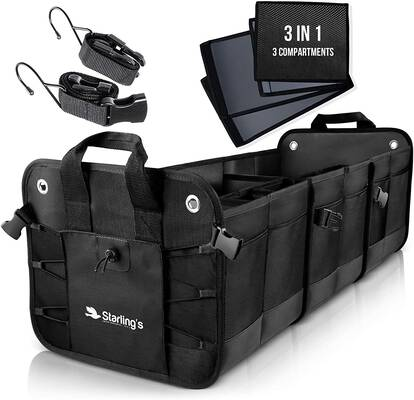 #1. Starling's 3 Compartments Adjustable Durable Effective Storage SUV Car Trunk Organizer (Black)