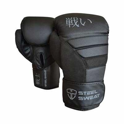 #1. Steel Sweat Training Gloves for Sparring Punching Muay Thai & Kickboxing (Senshi Black)