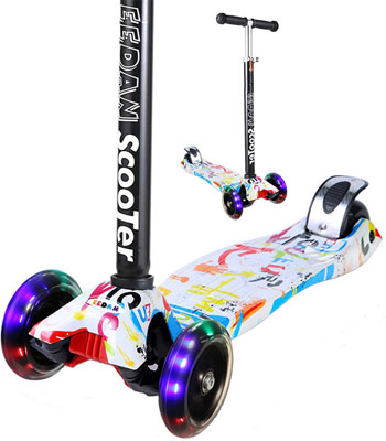 10. EEDAN Scooter for Kids, Adjustable Height Handle for Both Boys and Girls (Grafitti)
