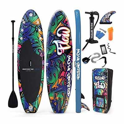 #6. SereneLife Non-Slip Deck 6Inch Thick Inflatable Stand Up Paddle Board w/Wide Stance