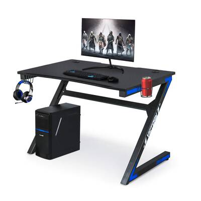 #5. YIGOBUY Large Carbon Fiber Surface with Cup & Headphone Holder PC Gaming Desk Table