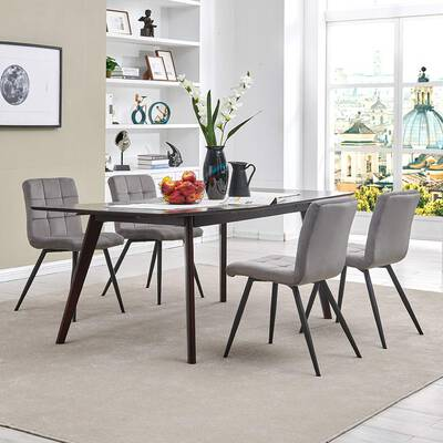 #8. DUHOME 4-Chairs Velvet Fabric Ergonomic Padded Seat Indoor Dining Table Set (Grey)