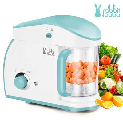 #4. Rabbit Baba Fashion Look Touch-Screen Control Multi-Functional Baby Food Maker (Light blue)