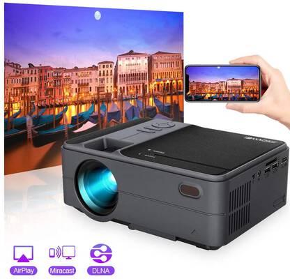 #4. ZCGIOBN 3500 Lux Support 1080P Bluetooth Mini Projector w/Built-in Speaker (Upgrade)