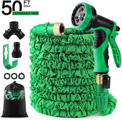 #10. FINECHAO 50 ft. Triple-Layered Latex Core Expandable Garden Hose