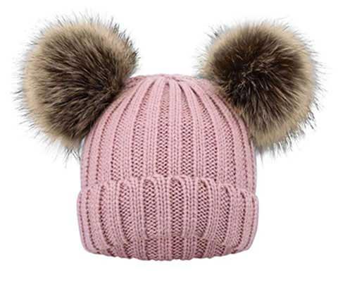 #4. Simplicity Winter Pompom Kids Ears Knitted Beanie Hat SKI Cozy Hat