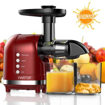 #10. FAMTOP Slow Masticating Juicer with a Reverse Functionality, Red