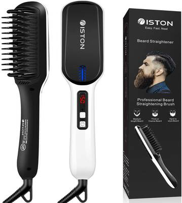 #4. ISTON Beard Straightener for Men Ionic Hair straightener brush