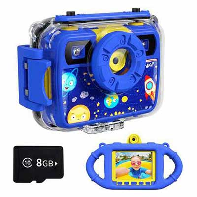 2. Ourline 1080P 2.4'' Large Screen 1080P Waterproof Action Child Fill Light 8MP Kid's Camera