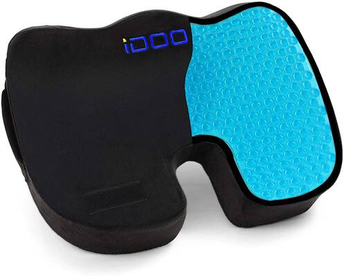 4. IDOO 100% Memory Foam Black Cooling Gel Car Seat Cushion for Tailbone Pain