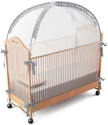 #10. RUNNZER Crib Safety Pop Up Tent Crib Net Canopy Cover Comfy Baby Playard