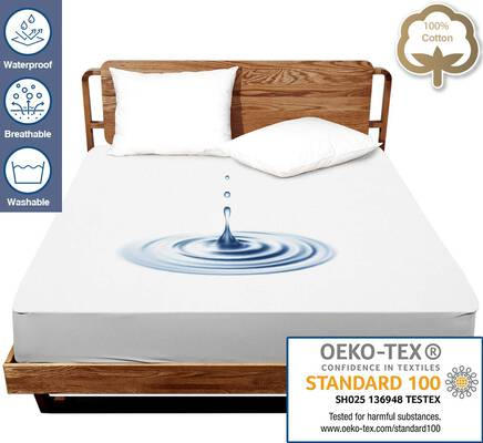 #5. J JIMOO Twin Size Smooth Breathable Vinyl-Free Waterproof Mattress Protector (White, Twin Size)