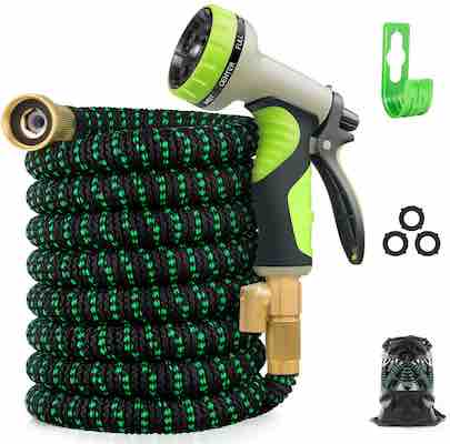 #6. Zalotte Leak-proof Solid Brass Fittings 25 ft. 3750D Durable Expandable Garden Hose