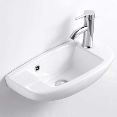 #4. QI&YI Vanity Ceramic Wall Mount Small Basin Faucet Pop-up Drain Combo Bathroom Vessel Sink