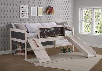 #2. DONCO Twin Art Play Junior Low Loft Slat Kit Mini-Slide Kids Bed (White Wash/ Dark Grey)