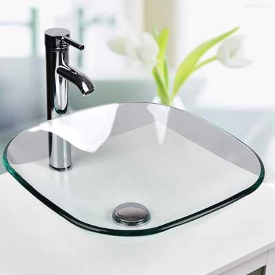 #9. PULUOMIS Clear Glass Square with Faucet Pop Up & Mounting Ring Drain Bathroom Vessel Sink