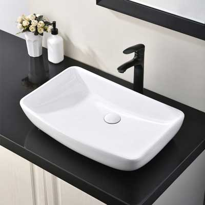 #5. HOTIS HOME Porcelain Countertop Bowl Ceramic Bathroom Above Counter Vanity Sink (White)