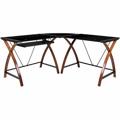1. Flash Pull-Out Black Glass L-Shape Spacious Corner Desk Black Sliding Keyboard Tray Desk